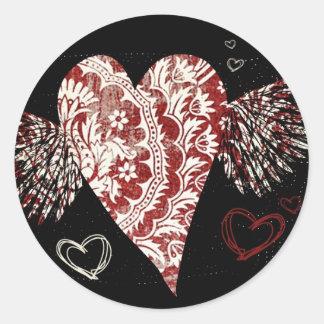 Urban Fleur Winged Heart Round Sticker