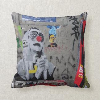 Urban Graffiti art pillow. Berlin wall, hoodie Cushion