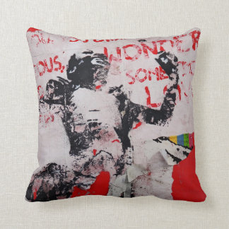 Urban Graffiti art pillow. Berlin wall, red white Cushion