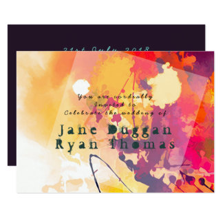 Urban Graffiti Wedding Purple Orange Invitation