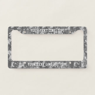 Urban Grey Digital Camo graphic on a Personalized Licence Plate Frame