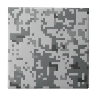 Urban Grey Pixel Camo pattern Ceramic Tile