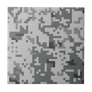 Urban Grey Pixel Camo pattern Small Square Tile