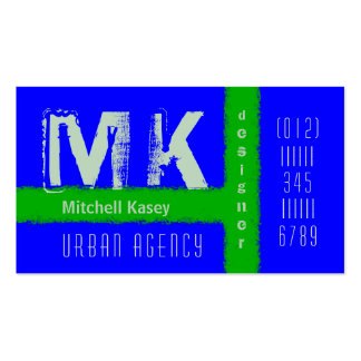 Urban Grunge Design Blue and Green Business Card