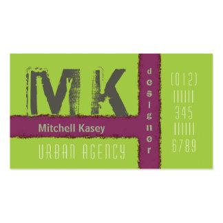 Urban Grunge Design Purple and Green Business Card