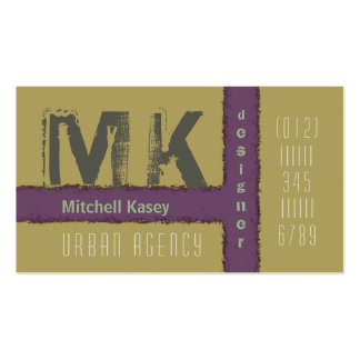Urban Grunge Design Purple and Tan Business Card