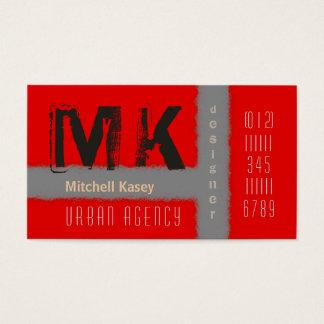Urban Grunge Design Red & Gray Business Card