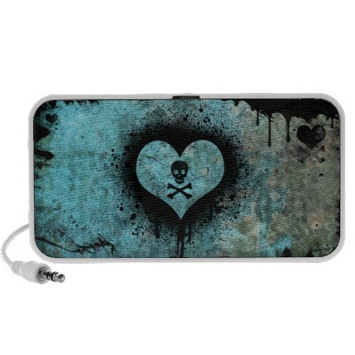 Urban Grunge Heart with Skull and Crossbones iPod Speaker