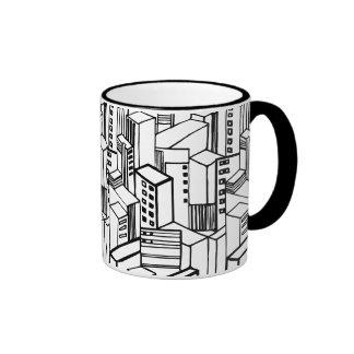 Urban hand drawn pattern ringer mug