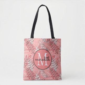 """Urban Jungle"" Coral and Black Floral #2 Tote Bag"