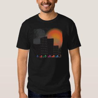 Urban Jungle Smog and Haze in a City, Cars, Sun T Shirts