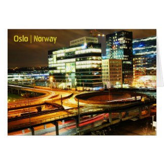 Urban landscape at night in Oslo, Norway Card
