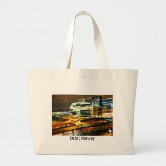 Urban landscape at night in Oslo, Norway Large Tote Bag