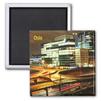 Urban landscape at night in Oslo, Norway Magnet