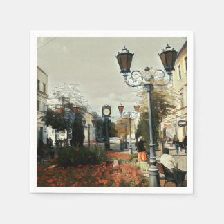 Urban Landscape Painting Paper Napkin