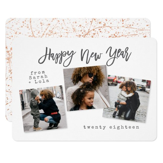 URBAN MODERN HAPPY NEW YEAR(ROSE GOLD/COPPER) CARD