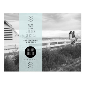 Urban Opaque Blue Band | Save the Date Photo Postcard