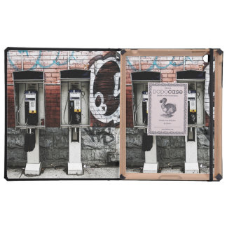 urban payphone on brick wall background covers for iPad