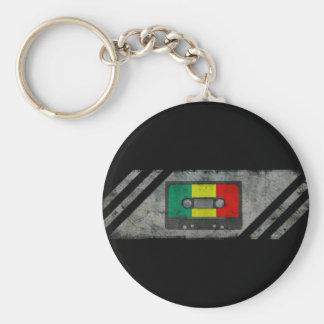 Urban reggae cassette basic round button key ring