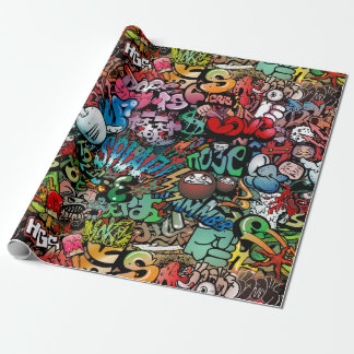 Urban street art Graffiti characters pattern Wrapping Paper