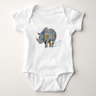 Urban Street Art: Ribbon Rhinoceros Baby Bodysuit