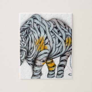 Urban Street Art: Ribbon Rhinoceros Jigsaw Puzzle