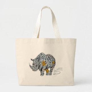 Urban Street Art: Ribbon Rhinoceros Large Tote Bag