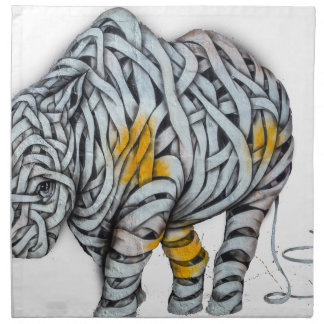Urban Street Art: Ribbon Rhinoceros Napkin