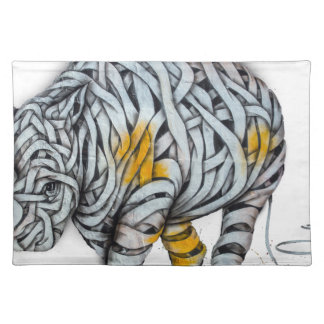 Urban Street Art: Ribbon Rhinoceros Placemat