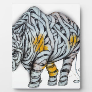 Urban Street Art: Ribbon Rhinoceros Plaque