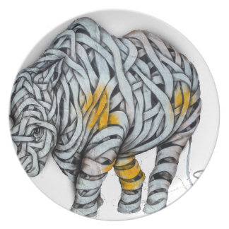 Urban Street Art: Ribbon Rhinoceros Plate