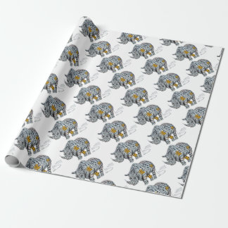 Urban Street Art: Ribbon Rhinoceros Wrapping Paper