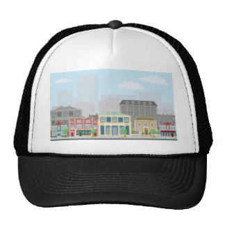 Urban street scene with smart townhouses hat