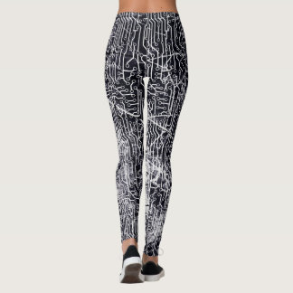 Urban Street Style Circuit Board Grunge Pattern Leggings