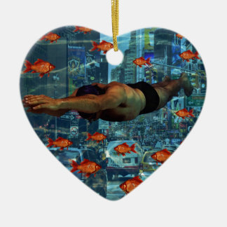 Urban swimmers ceramic heart decoration