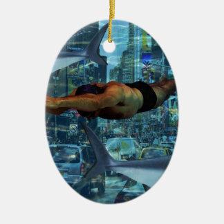 Urban swimmers ceramic oval decoration