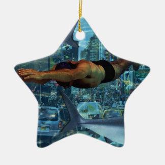 Urban swimmers ceramic star decoration