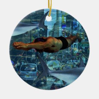 Urban swimmers round ceramic decoration