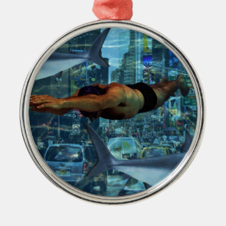 Urban swimmers Silver-Colored round decoration