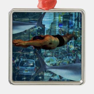 Urban swimmers Silver-Colored square decoration