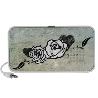 Urban Tattoo Rose with blue mist background iPhone Speaker