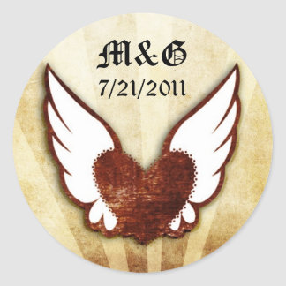 Urban Tattoo Winged Heart Wedding Date Seals Round Sticker