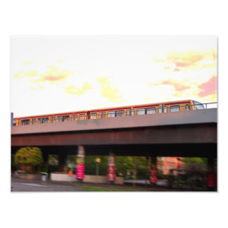 Urban train city poster (orange sky, motion blur)
