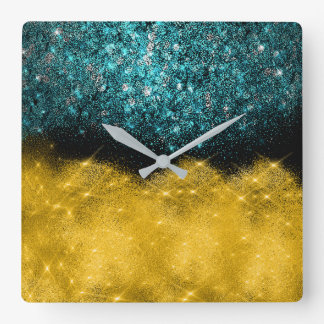 Urban Vip Black Glitter Confetti Teal Gold Square Wall Clock
