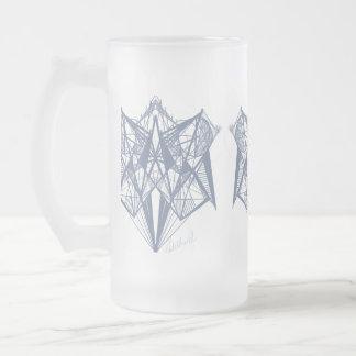 UrbnCape Blue Geometry designer Frosted Glass Frosted Glass Beer Mug