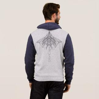 UrbnCape Geometric Grey and Blue zipper hoodie