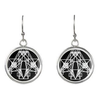 UrbnCape Geometric White Space ship earrings
