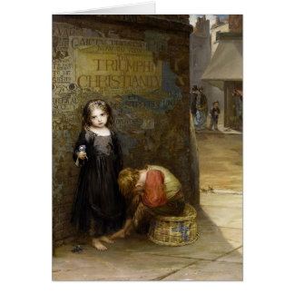 Urchin Flower Seller with Boy Greeting Card