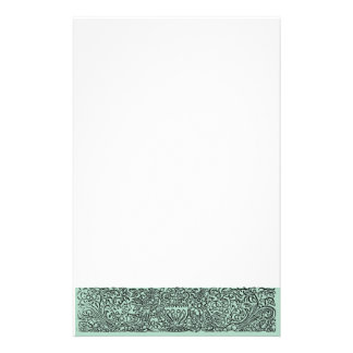 Urn Scroll Green Personalized Stationery