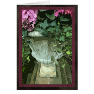 "Urn with hydrangeas, card, 5""x7"", blank card"